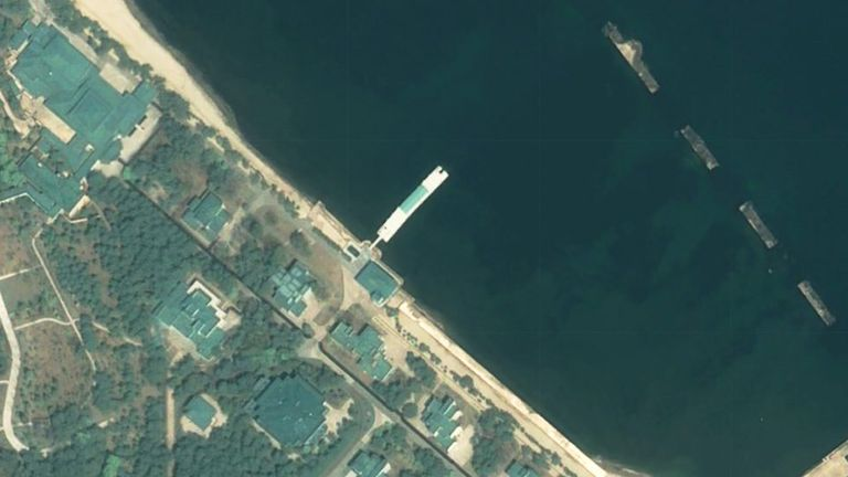 A satellite image over shows a luxury boat used by Kim Jong Un or his entourage in Wonsan. Pic: EOS Landviewer