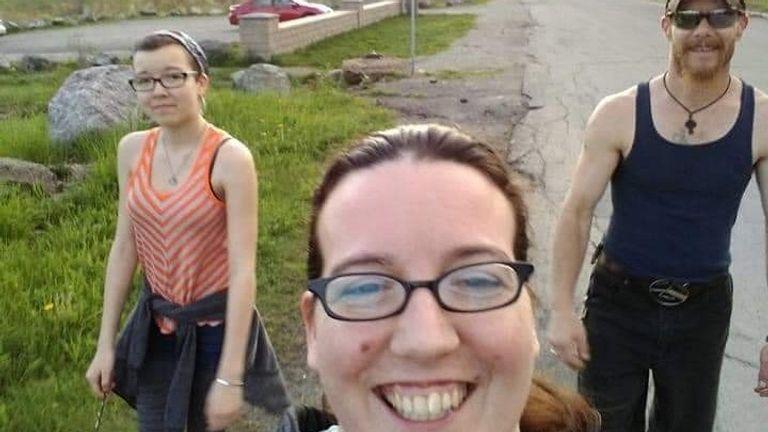 Jolene Oliver (middle), Emily Tuck and Aaron Tuck. Pic: GoFundMe