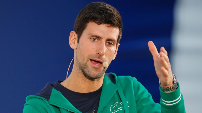 Novak Djokovic speaks during a news conference before the coronavirus pandemic saw tennis tournaments cancelled