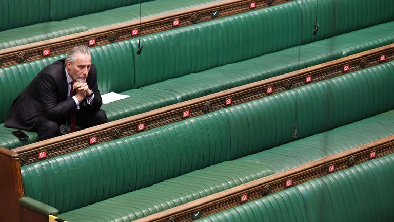 Pictures from the first ever virtual PMQs. Pic: Jessica Taylor/ UK parliament