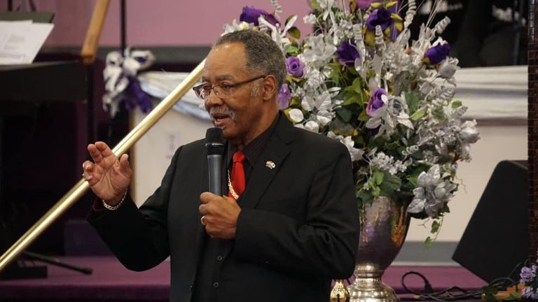 Bishop Gerald Glenn during a sermon. Pic: The New Deliverance Evangelistic Church