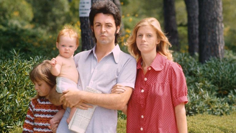 Paul and Linda McCartney and family in 1972.  Pic: Sipa/Shutterstock