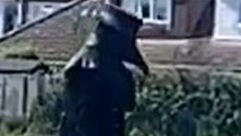 BEST QUALITY AVAILABLE Undated phone video grab courtesy of Jade Gosbell of a person out walking dressed as a 17th century plague doctor in the Norwich suburb of Hellesdon.