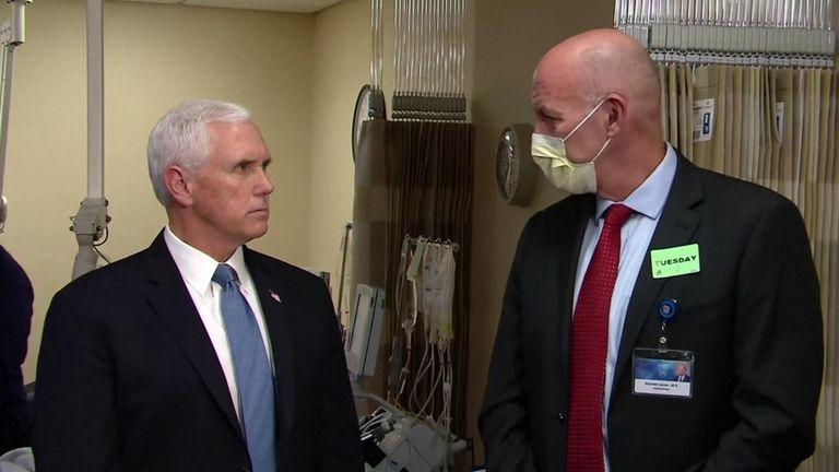 Mr Pence said he had been tested for coronavirus on a 'regular basis'