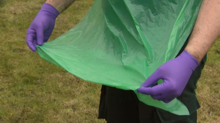 The paramedic says the thin PVC apron is inadequate for dealing with COVID-19 cases