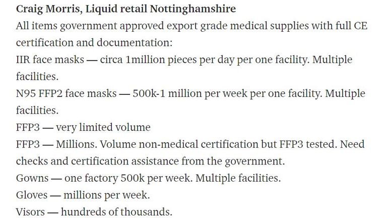 Mr Morris outlined what his firm could supply the NHS with