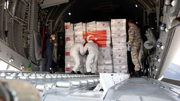 Medical supplies and PPE have been delivered to the UK from Turkey before. File pic