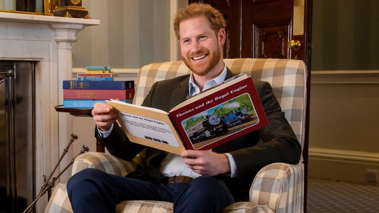 "Harry, The Duke of Sussex photographed in January this year during the recording of his on-camera introduction to the new animated special ""Thomas & Friends: The Royal Engine.... The 22-minute episode features Her Majesty The Queen and HRH The Prince of Wales as a child and has been produced as part of Thomas & Friends' 75th anniversary celebrations this year"