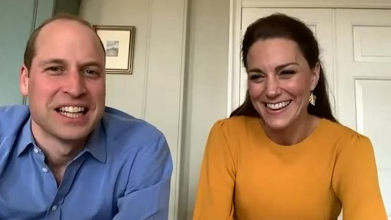 The Duke and Duchess of Cambridge video call pupils at Casterton Primary Academy in Burnley. Credit: Kensington Palace