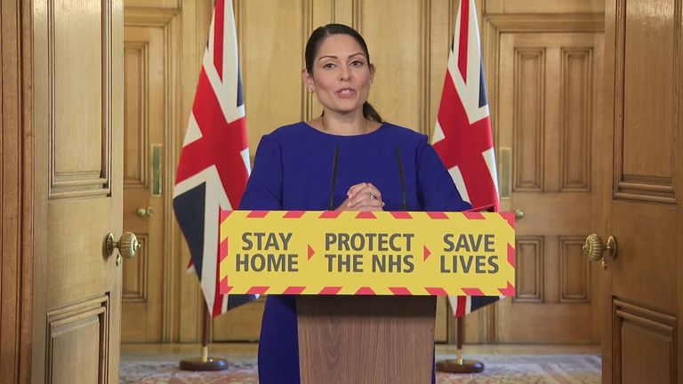 Priti Patel chairs the daily coronavirus briefing in Downing Street