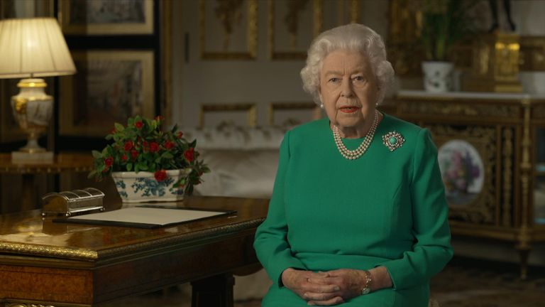 The Queen has delivered a historic address to the nation from Windsor Castle