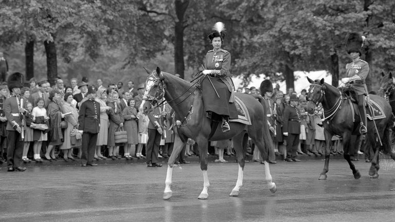 File photo dated 11/06/60 of Queen Elizabeth II riding her horse during the Trooping the Colour. It is the Queen's 94th birthday on Tuesday, but she actually has two birthdays. A Photo. Issue date: Tuesday April 21, 2020. The PA news agency answers the questions surrounding the Queen having more than one birthday. See PA story ROYAL Queen QandA. Photo credit should read: PA/PA Wire