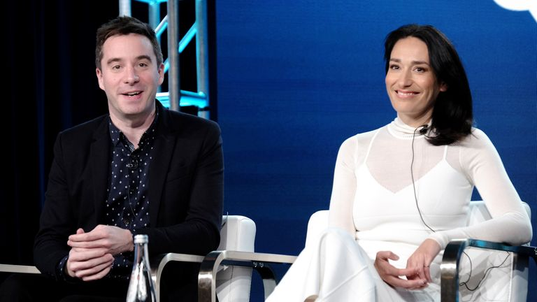 PASADENA, CALIFORNIA - JANUARY 16: (L-R) James Graham and Sian Clifford of 'Quiz' speak onstage during the AMC Networks portion of the Winter 2020 TCA Press Tour on January 16, 2020 in Pasadena, California
