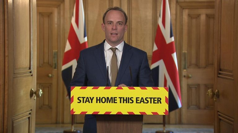 Foreign Secretary Dominic Raab holds the daily press conference.