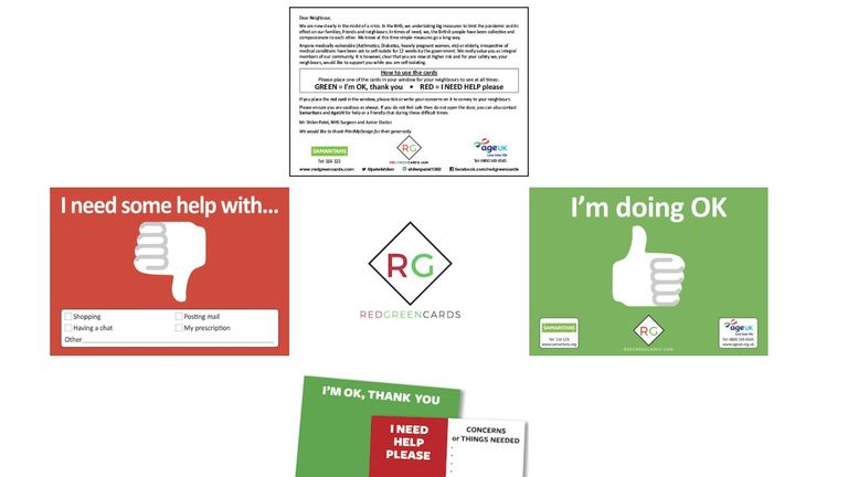 The cards posted through people's doors helps volunteers to identify what help is needed (Credit: Red Green Cards)