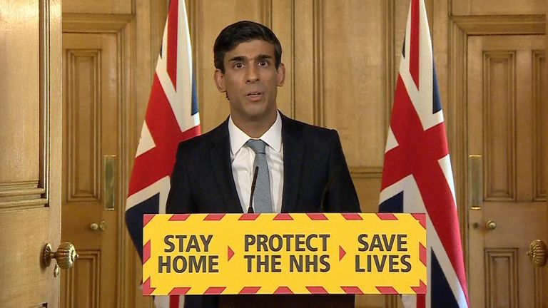 Chancellor Rishi Sunak gives the government's daily coronavirus press briefing