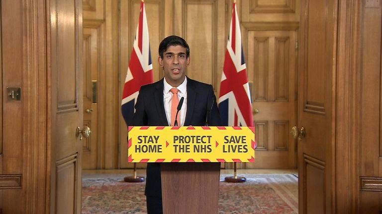 The chancellor of the exchequer Rishi Sunak leads the government's daily COVID-19 press conference