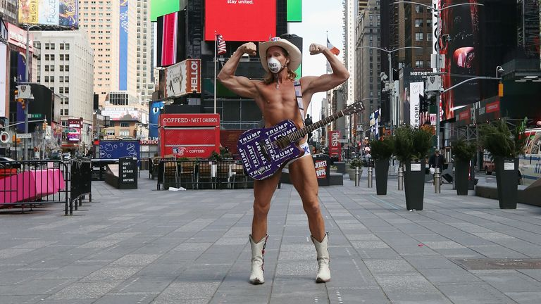 The Naked Cowboy says he won't let COVID-19 stop him performing in Times Square