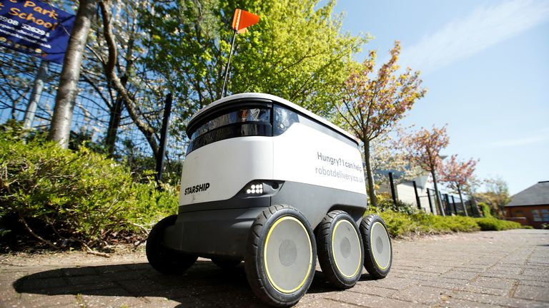 The robots can deliver several bags of shopping and a crate of bottles
