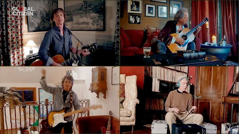 Mick Jagger, Keith Richards, Ronnie Wood and Charlie Watts of The Rolling Stones perform from their homes