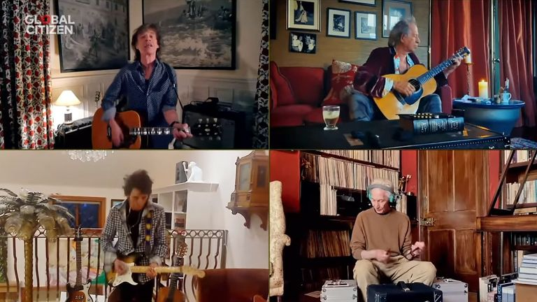 The Rolling Stones - (clockwise from top left) Mick Jagger, Keith Richards, Charlie Watts and Ronnie Wood - take part in One World: Together At Home. Pic: Global Citizen