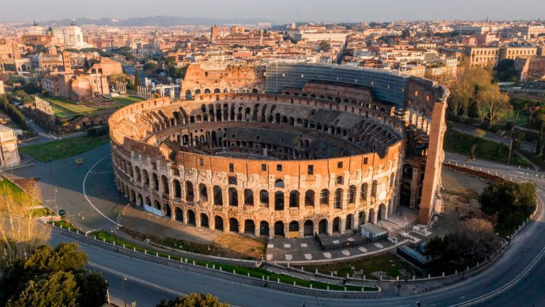 The area surrounding the colosseum is empty due to lockdown measures