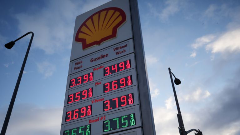 Gasoline prices are displayed at a Shell gas station on March 10, 2020 in Los Angeles, California.