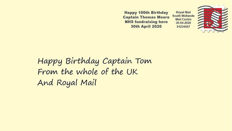 Artist's impression of how the special postmark to celebrate the upcoming 100th birthday of NHS fundraiser Captain Tom Moore will look like