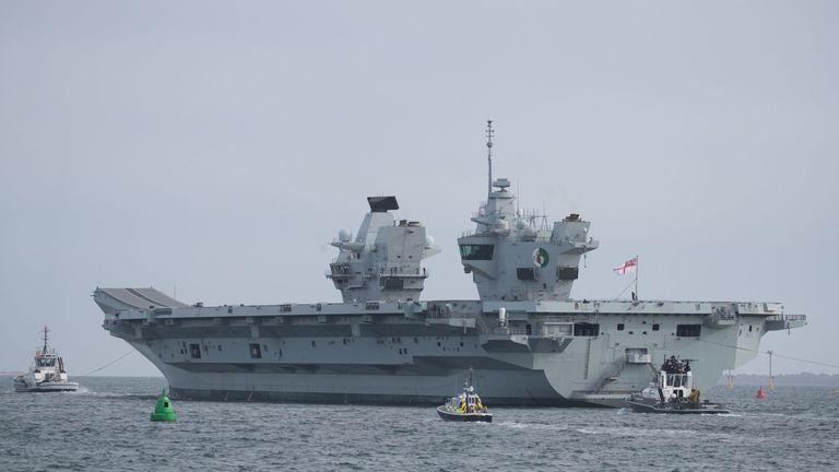 HMS Queen Elizabeth sets sail from Portsmouth harbour