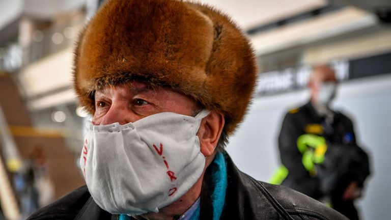 People gather at Moscow's Sheremetyevo airport terminal F for a repatriation flight to France for French and European nationals stuck in Russia because of the coronavirus crisis, April 4, 2020. (Photo by Yuri KADOBNOV / AFP) (Photo by YURI KADOBNOV/AFP via Getty Images)