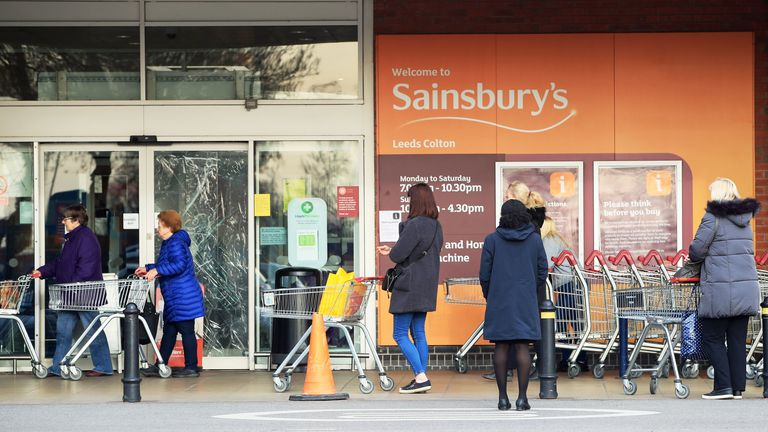 Sainsbury's has introduced social distancing measures in its supermarkets