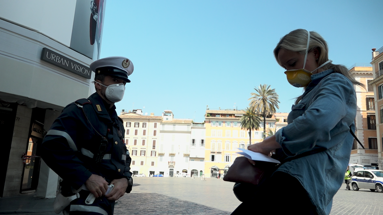 Sky's Sally Lockwood is stopped by police and asked for papers that explain why she is outside during lockdown in Italy