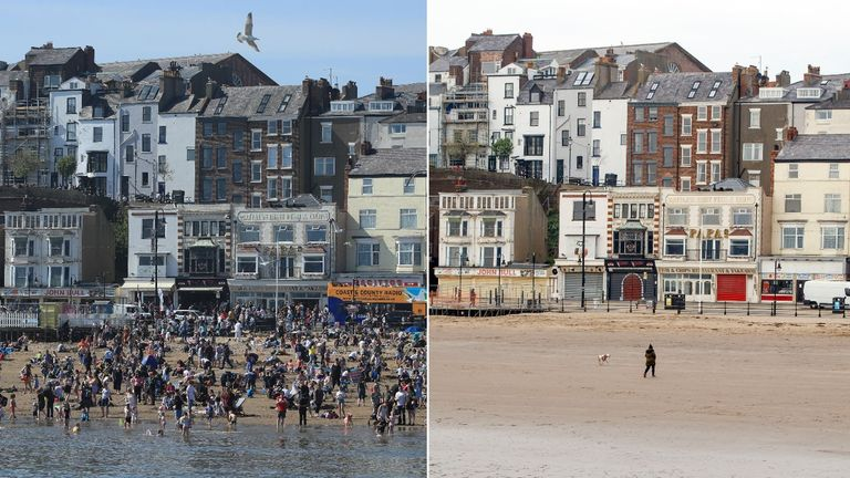 What a difference a year makes: Scarborough during the 2019 Easter bank holiday weekend versus yesterday
