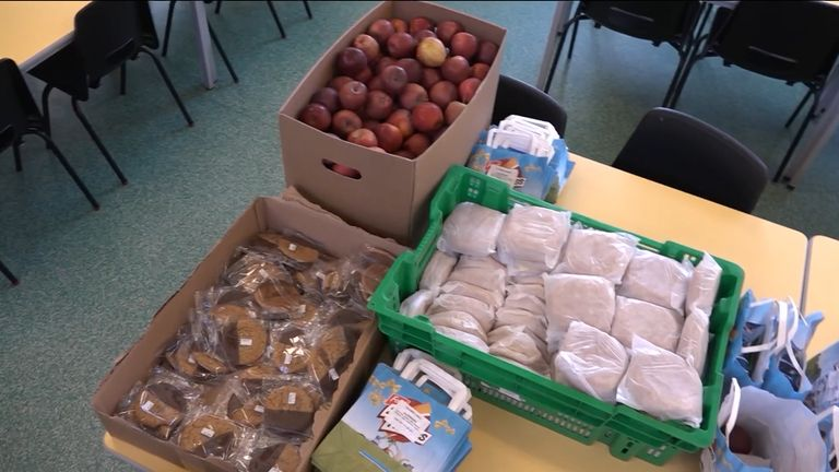 Every morning, Zane Powles, assistant headteacher at Western Primary School, delivers 78 packed lunches to children who qualify for free school meals, each containing a sandwich, a packet of crisps, a biscuit and an apple.