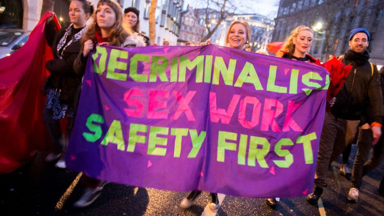A campaign to decriminalise sex work was marked with a protest in March