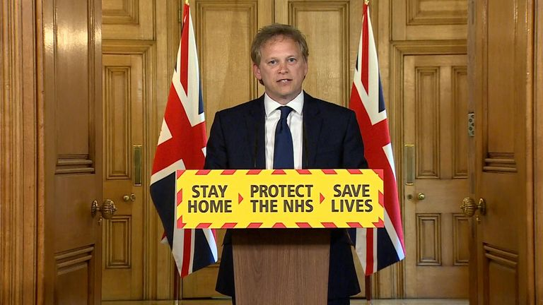 Transport secretary Grant Shapps leads the government's daily coronavirus press briefing