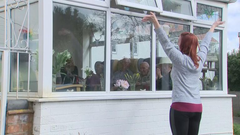 The singers can no longer enter the care home but perform from outside