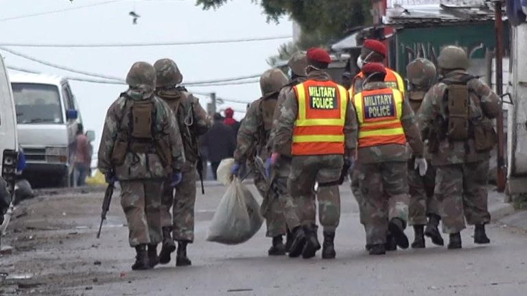 Troops patrol the streets of Alexandra township