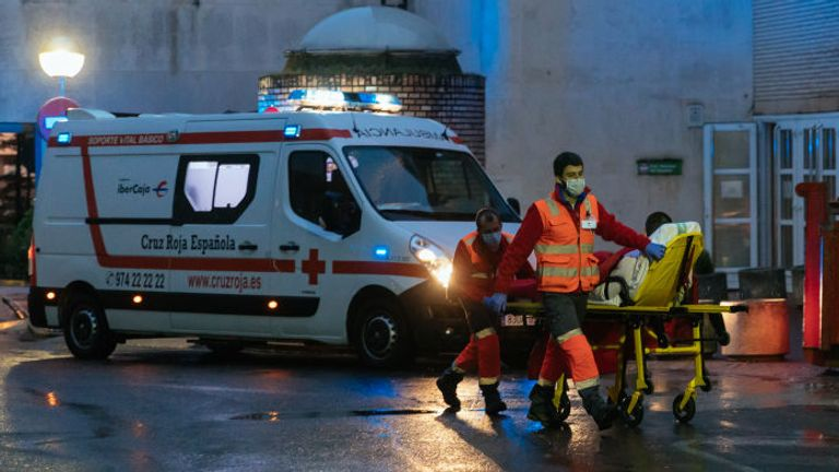 A red cross ambulance arrives with a Covid-19 infected patient at the San Jorge hospital in Huesca