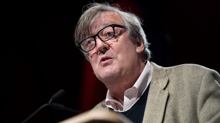 Stephen Fry, comedian, actor and writer, during the 2019 Hay Festival on 26 May 2019 in Hay-on-Wye, Wales