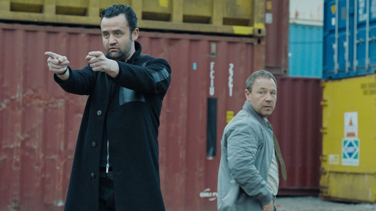 Stephen Graham and Daniel Mays star in Code 404, a new original comedy set in the near future in the Special Investigation Unit at the London Met. Pic: ©Sky UK Limited