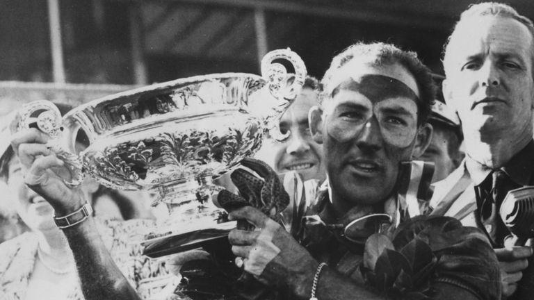 Stirling Moss wins the 1955 British Grand Prix