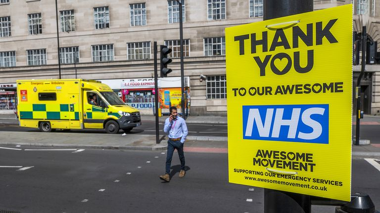 'Thank You to our Awesome NHS' signs near St Thomas' Hospital in London. Pic: Guy Bell/Shutterstock