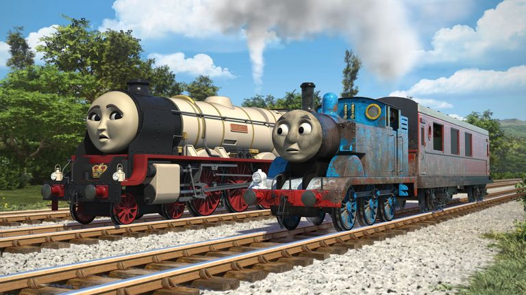 Thomas the Tank Engine and new character the Duchess of Loughborough, voiced by Rosamund Pike, in The Royal Engine