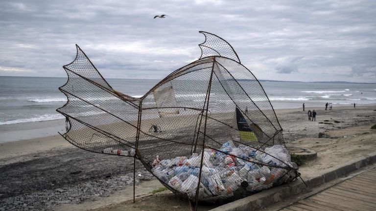 A plastic collector in the shape of a fish on a beach in Tijuana, Mexico