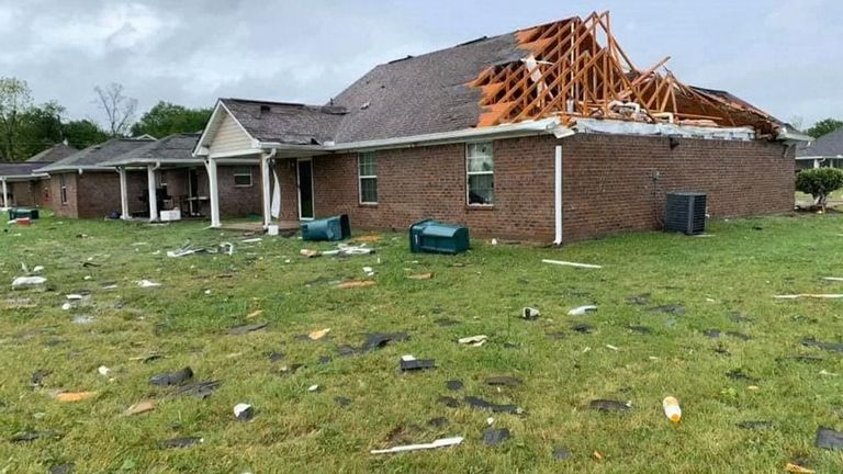 Homes were badly damaged in Louisiana