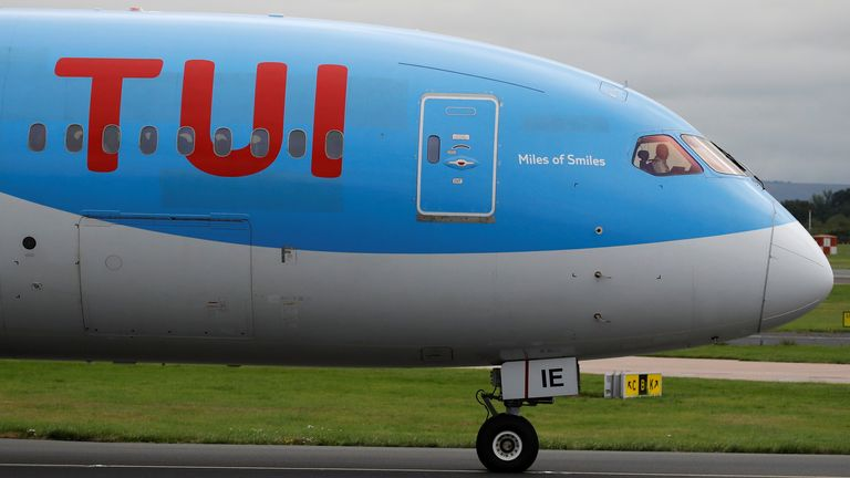 A TUI Boeing 787-8 Dreamliner aircraft prepares to take off from Manchester Airport in Manchester, Britain September 4, 2018
