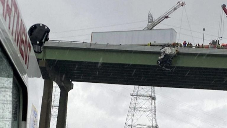 Man rescued from truck dangling off bridge in Virginia