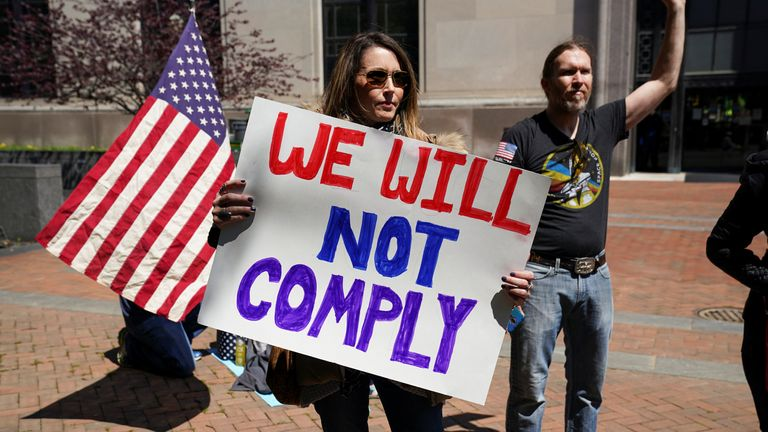 Protesters in Virginia have been rallying against stay-at-home orders and warning they 'will not comply'