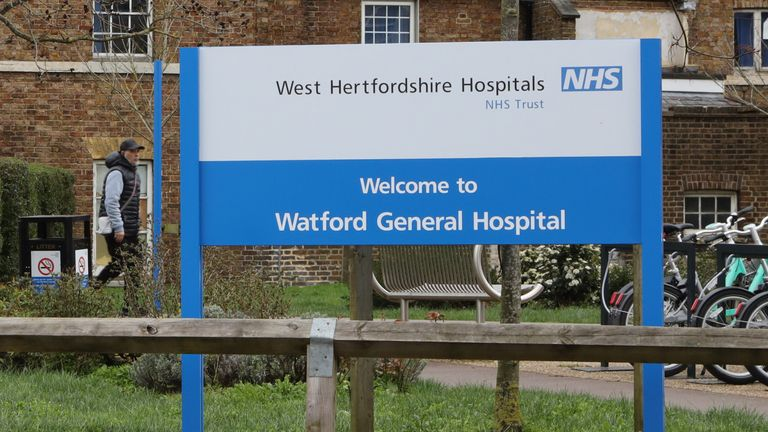 WATFORD, ENGLAND - MARCH 13: A general view of Watford General Hospital which is situated right next to Vicarage Road, home of Watford FC as all Premier League matches are postponed until April 3rd due to the Coronavirus Covid-19 pandemic on March 13, 2020 in Watford, England. (Photo by Richard Heathcote/Getty Images)